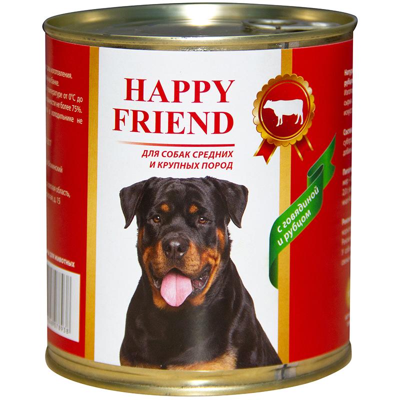 Корм для собак Happy Friend Для средних и крупных пород с говядиной и рубцом 750 г.