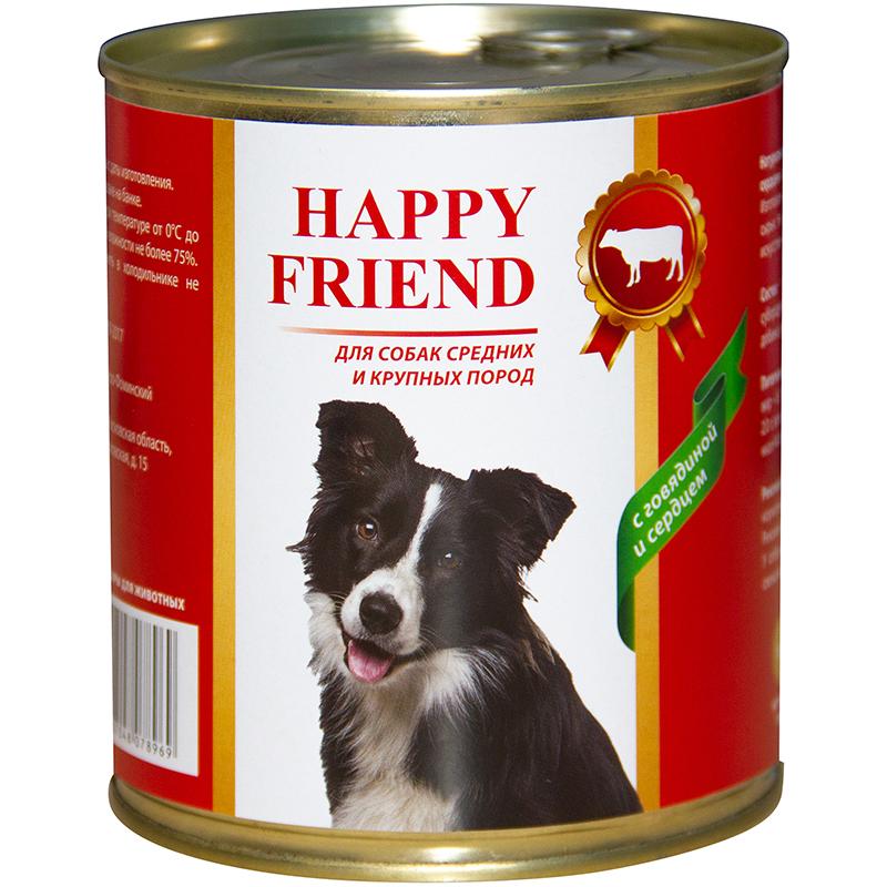 Корм для собак Happy Friend Для средних и крупных пород с говядиной и сердцем 750 г.