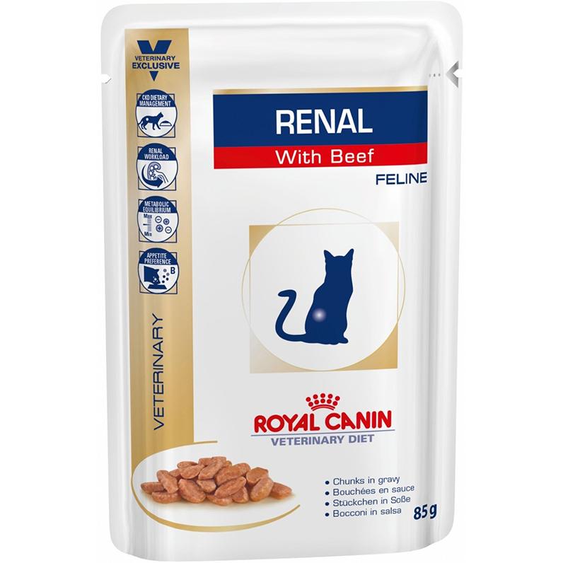 Корм для кошек Royal Сanin Vet Diet Renal при почечной недостаточности говядина 85 г корм для кошек royal canin vet diet renal rf23 при почечной недостаточности сух 400г