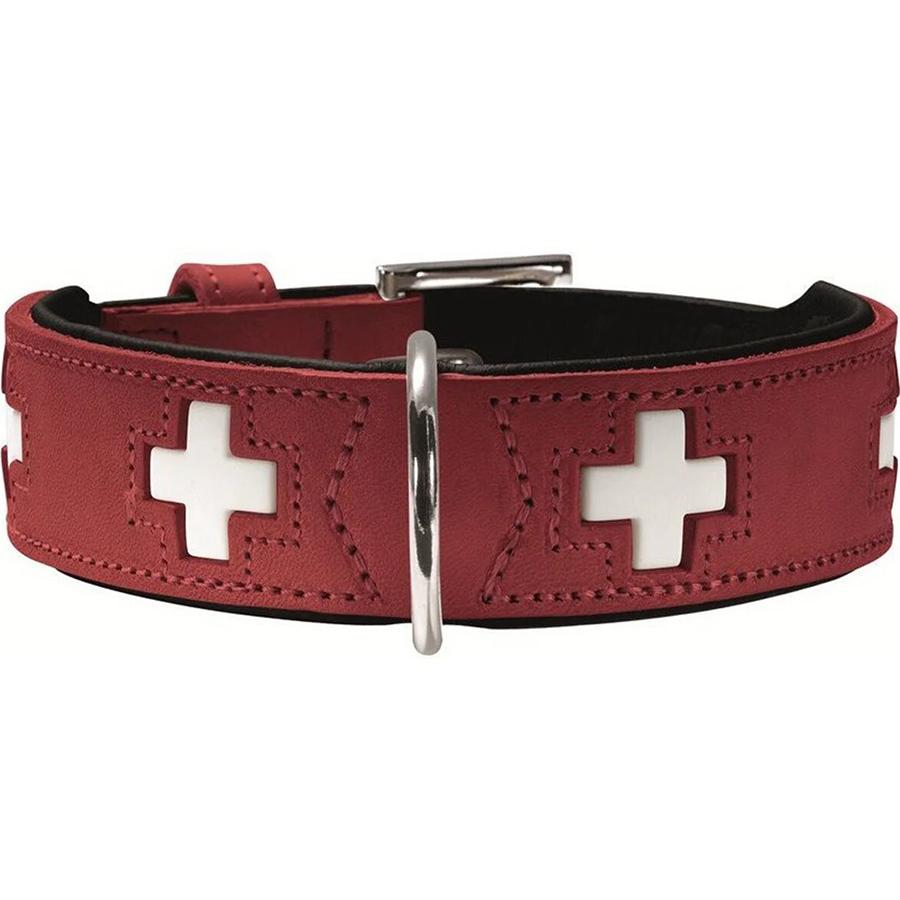 Ошейник для собак Hunter Swiss 32 кожа красно-черный 24-28 см.