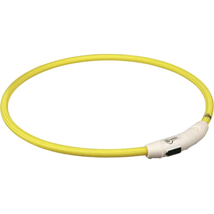 Ошейник для собак TRIXIE Мигающее кольцо USB L-XL желтый