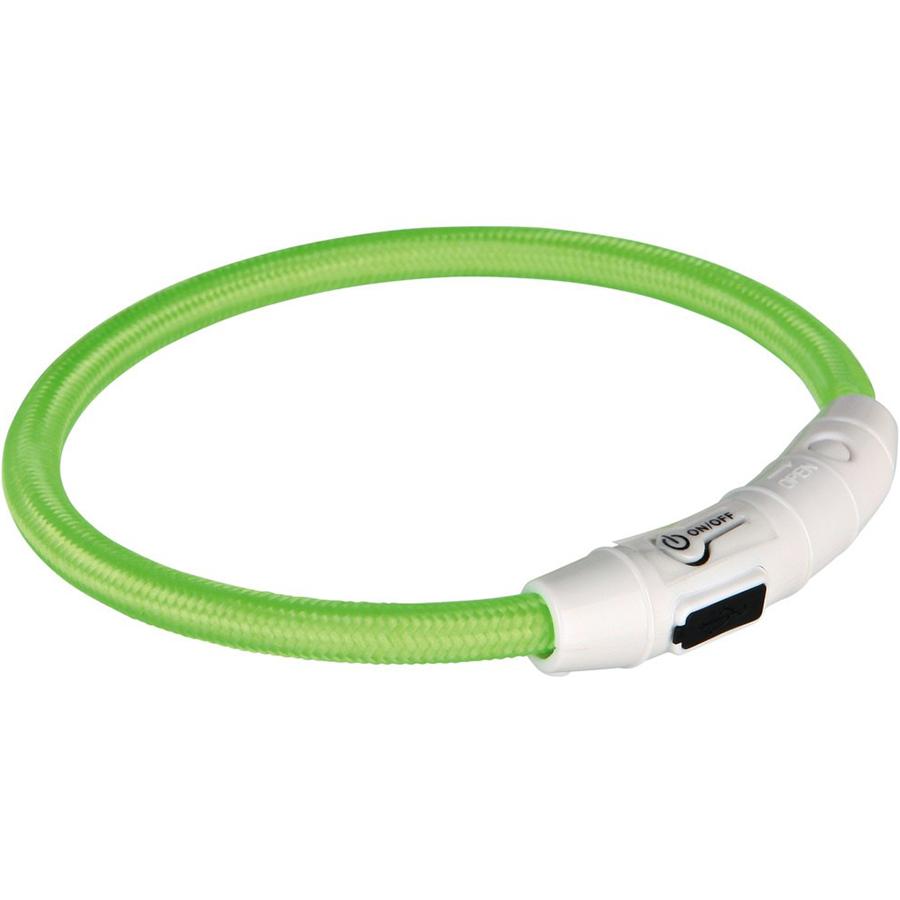 Ошейник для собак TRIXIE Мигающее кольцо USB XS-S зеленый