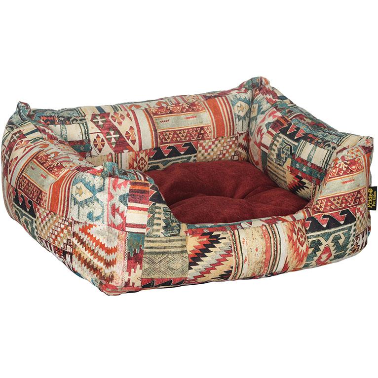 Лежак для животных Pride Этника 70х60х23 см бордовый.
