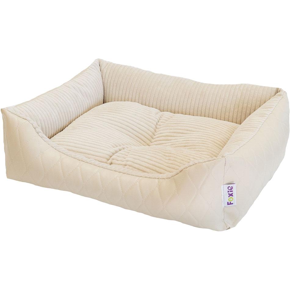 Лежак для животных Foxie Leather 60х50х18 см белый.