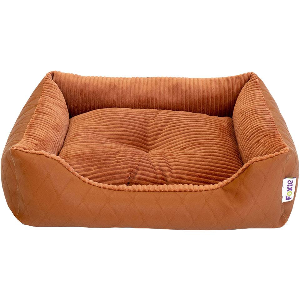 Лежак для животных Foxie Leather 60х50х18 см оранжевый недорого