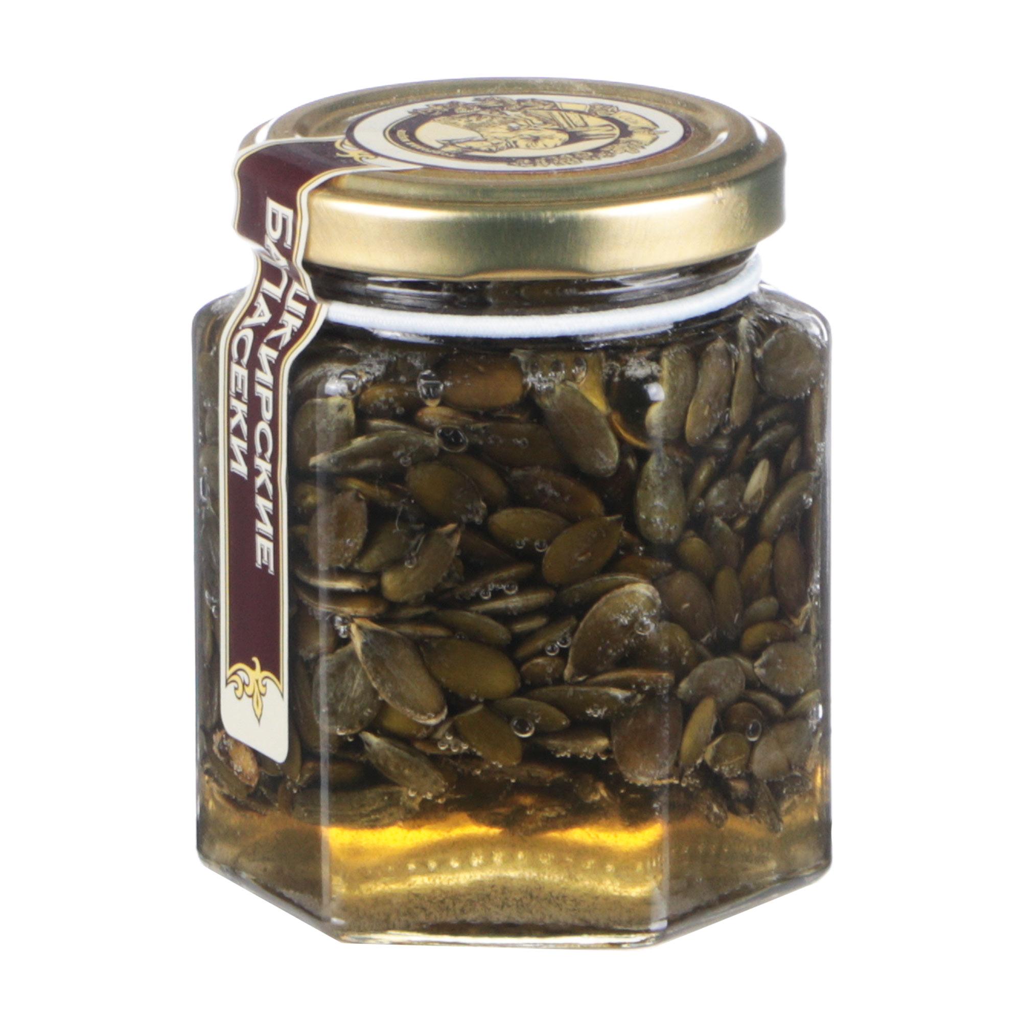 Мед Башкирские Пасеки Сотка цветочный с семенами тыквы, 220 г