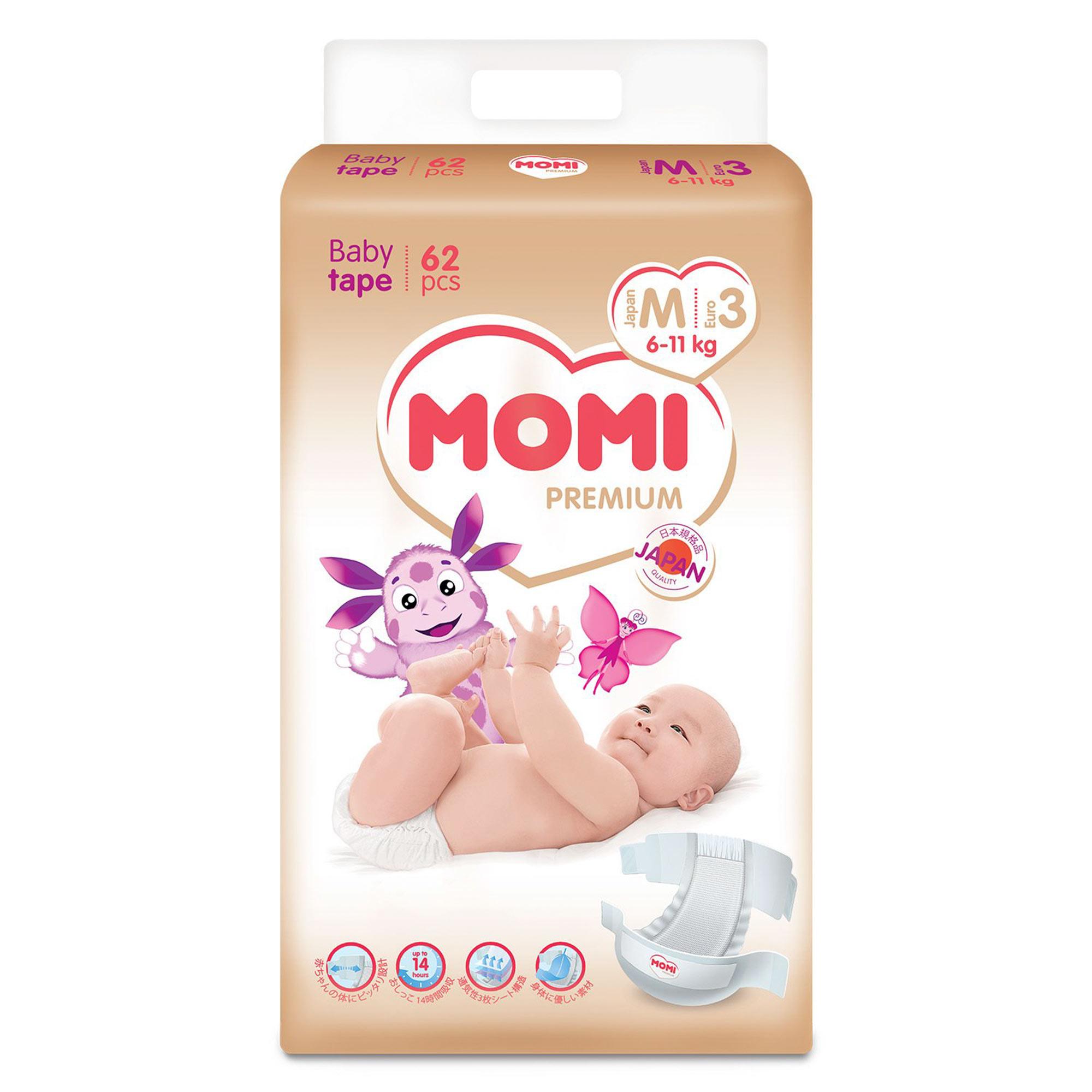 Купить Подгузники Momi Premium M (6-11 кг) 62 шт, Белый, Внутренняя поверхность: полиэфир/полиолефин нетканевого типа. Впитывающий слой: хлопчатобумажная пульпа, впитывающая бумага, высокомолекулярный абсорбент акрилового типа. Водонепроницаемый материал: полиолефин. Эластичный материал:полиуретан, Для детей,
