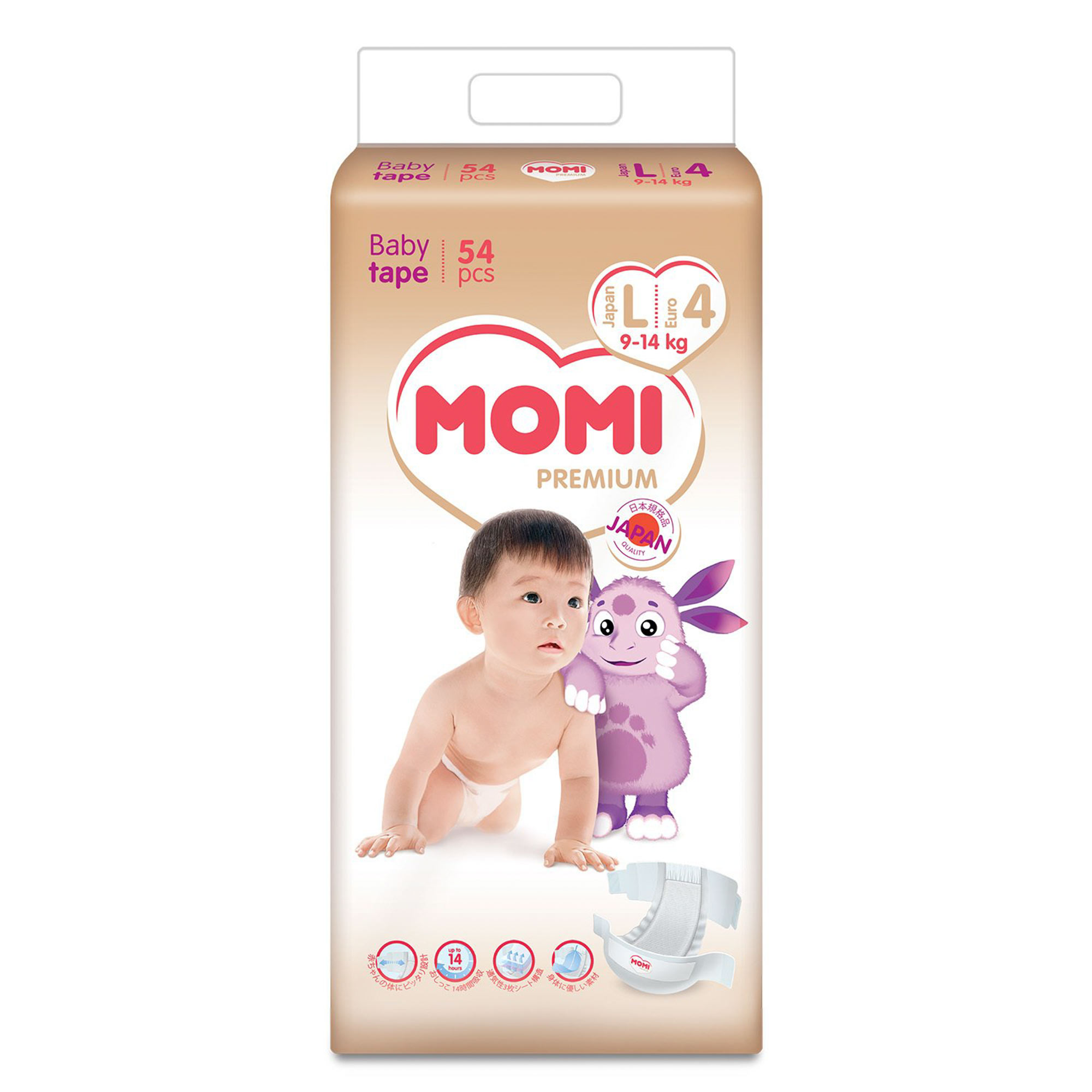 Купить Подгузники Momi Premium L (9-14 кг) 54 шт, Белый, Внутренняя поверхность: полиэфир/полиолефин нетканевого типа. Впитывающий слой: хлопчатобумажная пульпа, впитывающая бумага, высокомолекулярный абсорбент акрилового типа. Водонепроницаемый материал: полиолефин. Эластичный материал:полиуретан, Для детей,