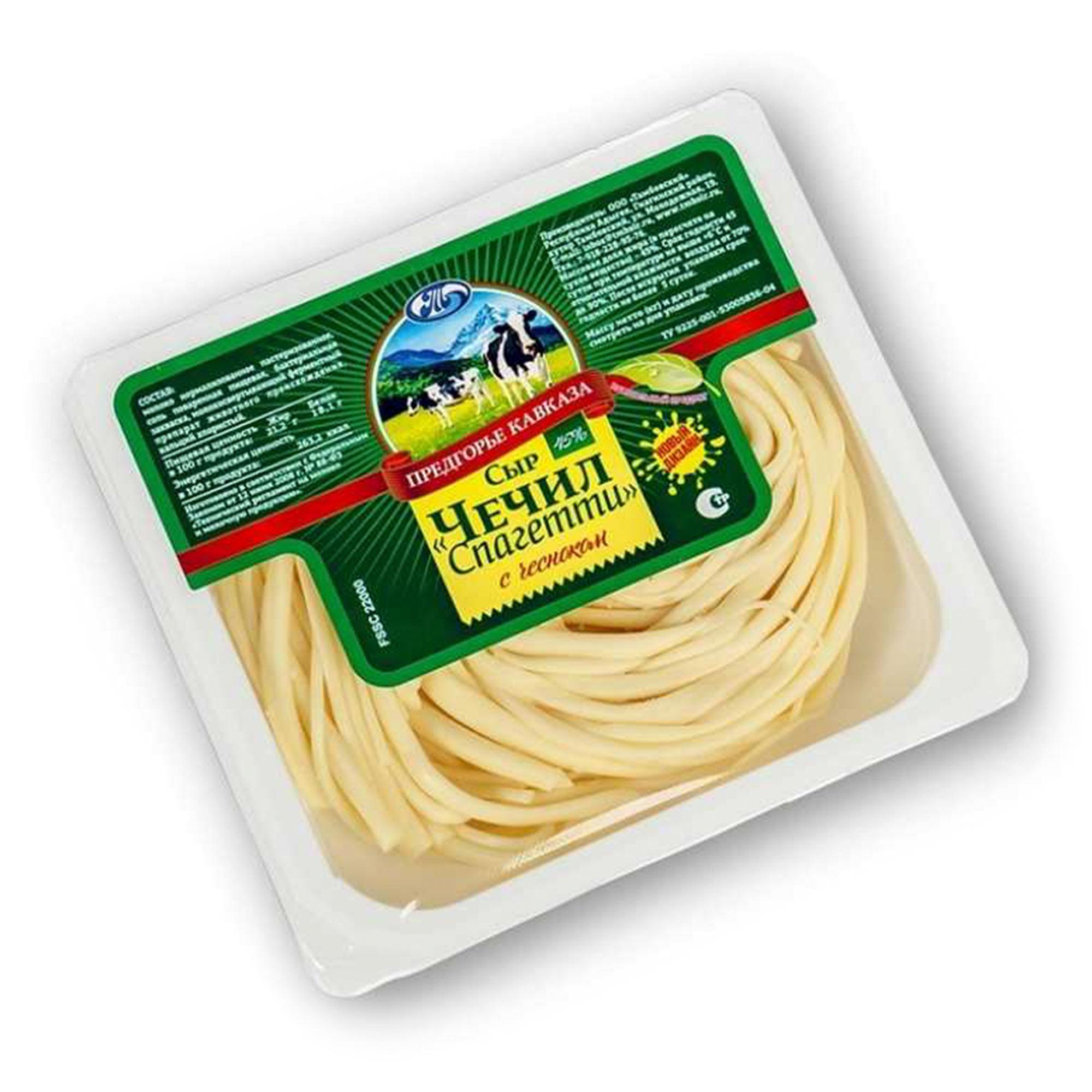 Сыр Предгорье Кавказа спагетти чечил с чесноком 45% 110 г сыр рассольный красногвардейские чечил спагетти 40% 120 г