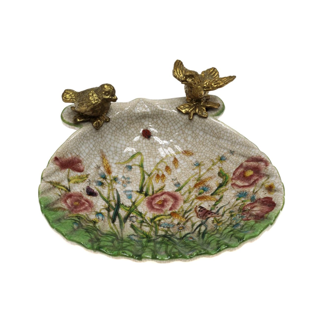 Фото - Блюдо Glasar с птичками 14x13x5см столик приставной glasar серебристого цвета с золотыми птичками на ветке 43x43x71 см