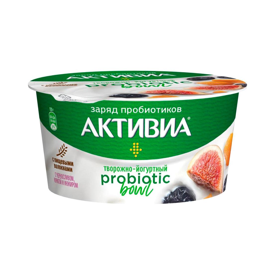 активиа биопродукт творожно йогуртный 4 5% 130 г Продукт творожно-йогуртный Активиа Probiotic Bowl Чернослив, курага, инжир 135 г