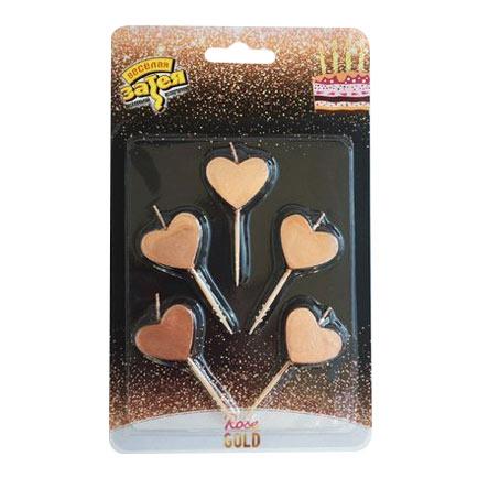 Свечи для торта Сердца розовые 5 шт праздничные свечи для торта комплект 20 шт с подставкой 5 см в блистере 1502 0180