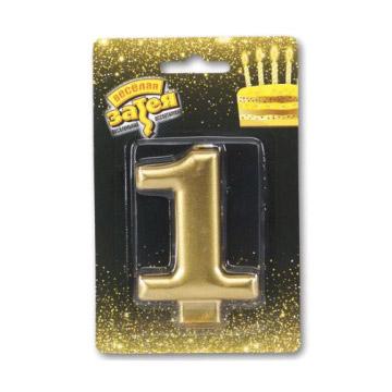 Свеча Веселая Затея Золотая Цифра 1 8 см