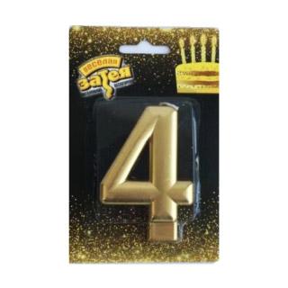 Свеча Веселая Затея Золотая Цифра 4 8 см
