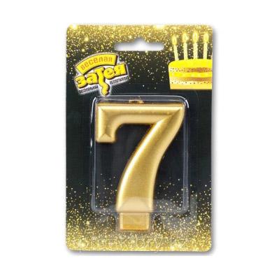 Свеча Веселая Затея Золотая Цифра 7 8 см