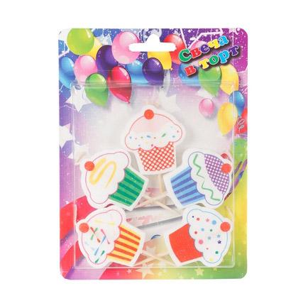 Свечи для торта Веселая Затея Кексы 5 шт праздничные свечи для торта комплект 20 шт с подставкой 5 см в блистере 1502 0180