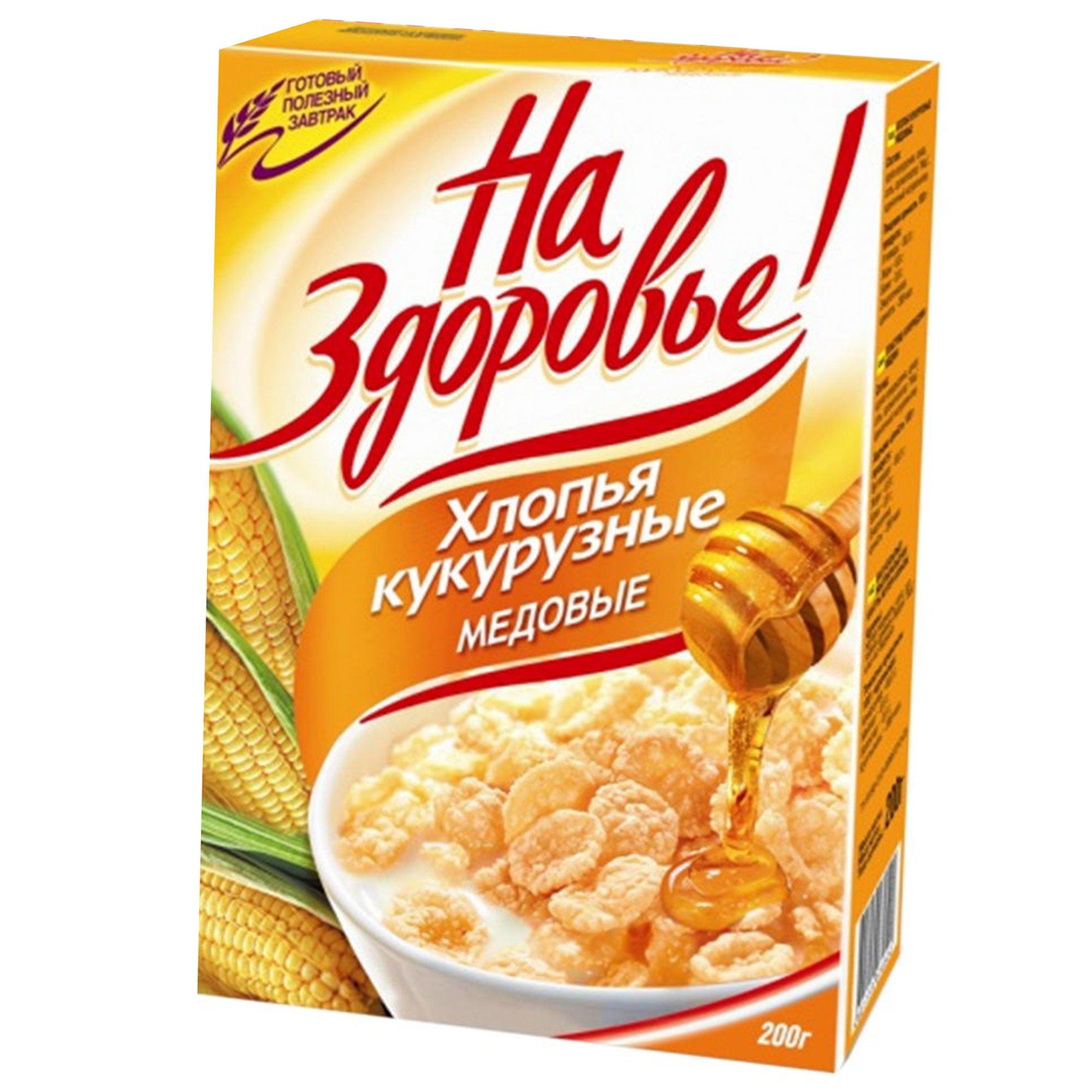 Хлопья кукурузные На Здоровье со вкусом меда 250 г