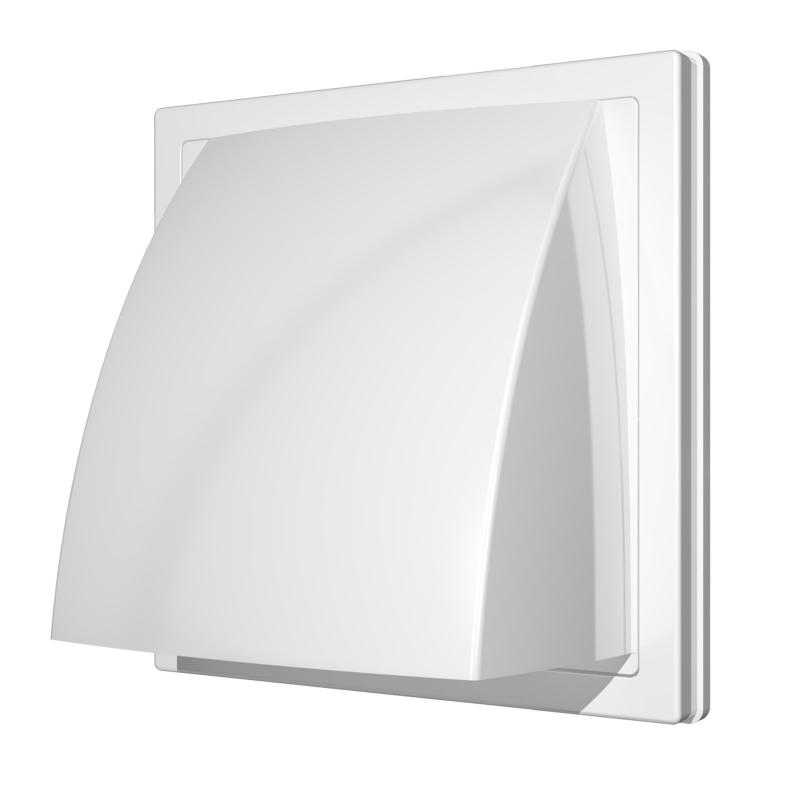 Выход стенной вытяжной Era с обратным клапаном 150х150 с фланцем D100, ASA, белый выход era стенной вентиляционный вытяжной металлический с фланцем d100 10вм