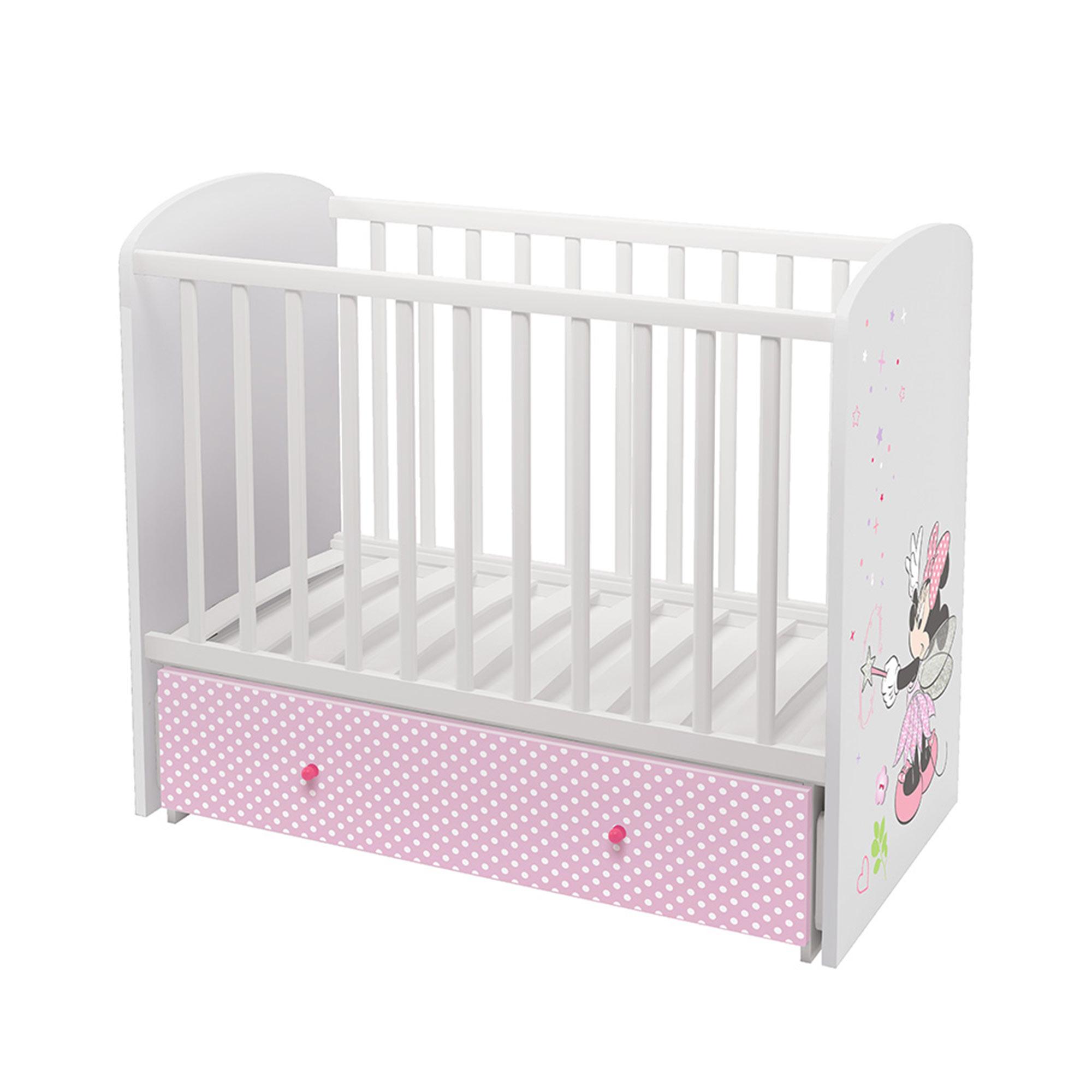 Кроватка детская Polini kids Disney baby 750 Минни Маус-Фея, белый-розовый 120х60