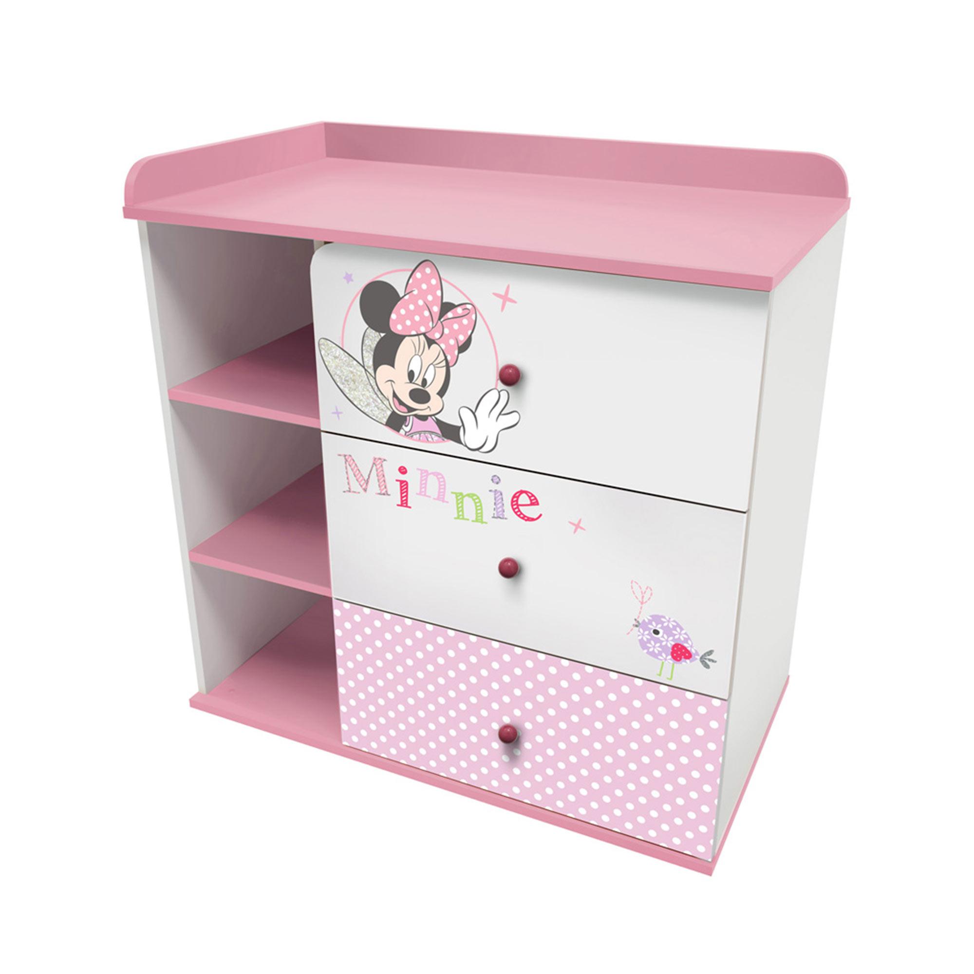 Комод Polini kids Disney baby 5090 Минни Маус-Фея , с 3 ящиками, белый-розовый 90х90х50