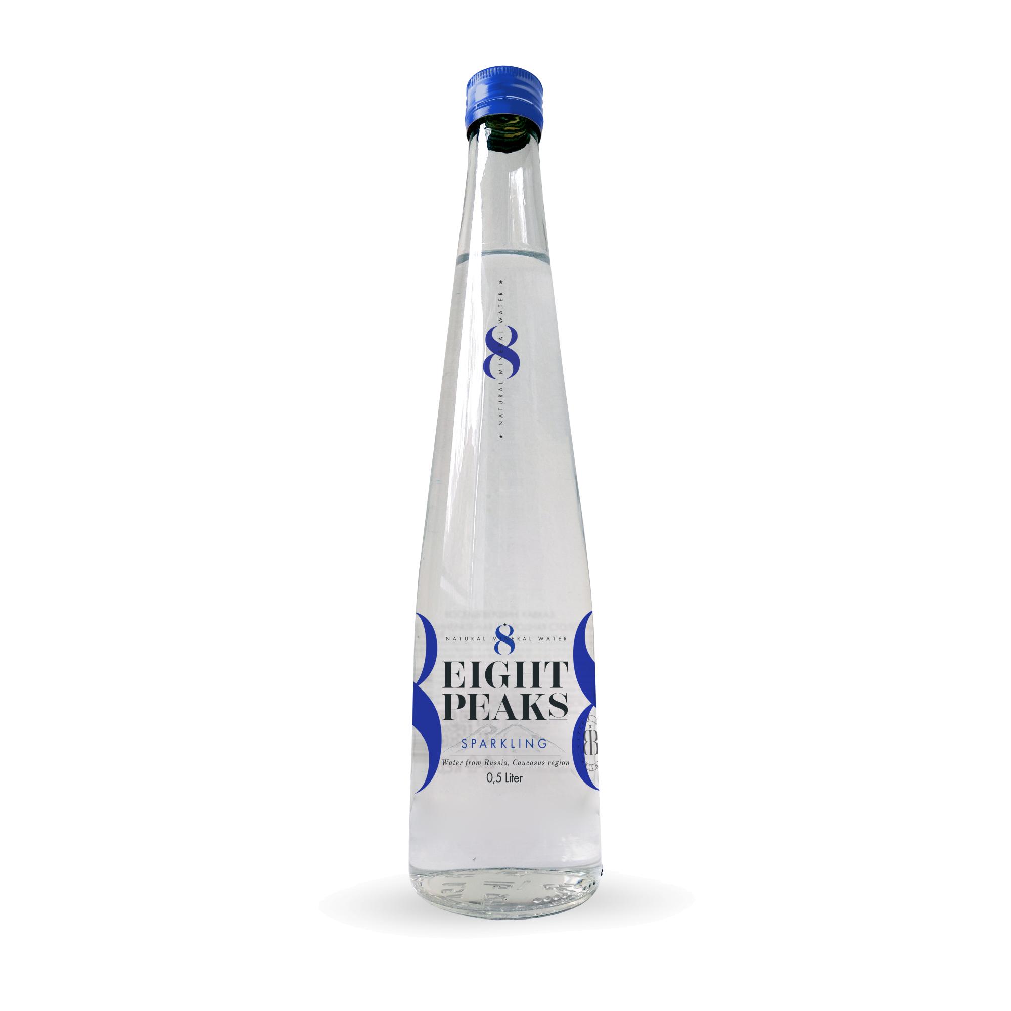 Вода газированная Eight Peaks ст/ б 0,5 л eight