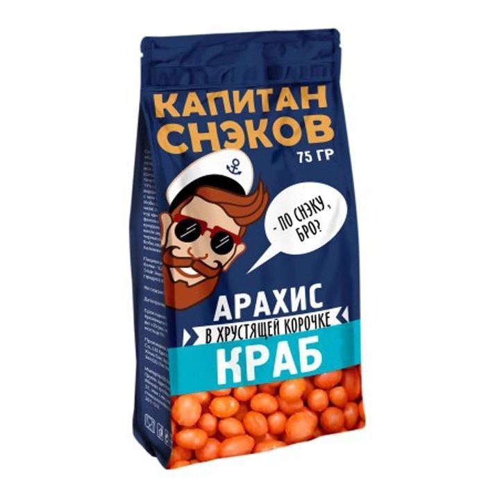 Арахис в глазури Капитан Снэков со вкусом Краба 75 г арахис в глазури капитан снэков кукурахис 75 г