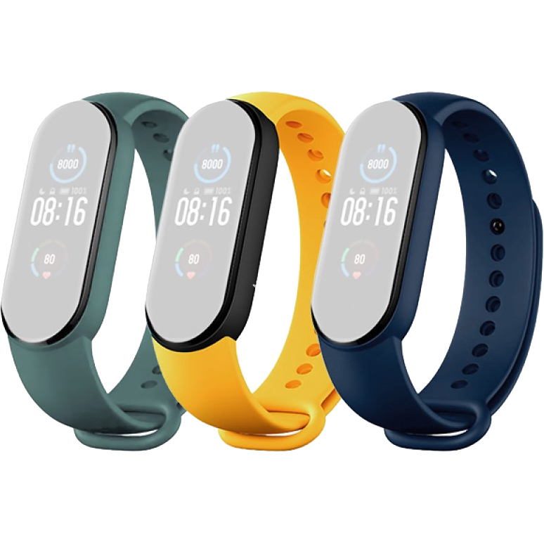 Фото - Набор ремешков для умных часов Xiaomi Mi Smart Band 5 Strap 3-Pack Navy Blue-Yellow-Mint Green BHR4640GL crested genuine leather band for amsung gear s3 frontier classic bracelet strap for watch band 22mm bellt with metal buckle