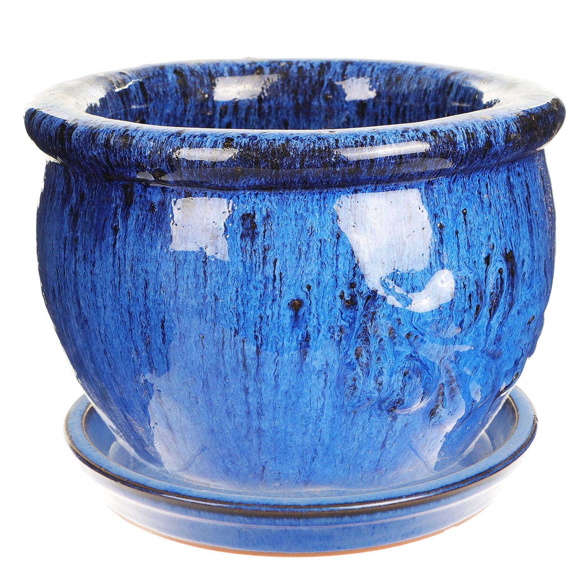 Горшок Hoang pottery олива 28x19 см синий c поддоном