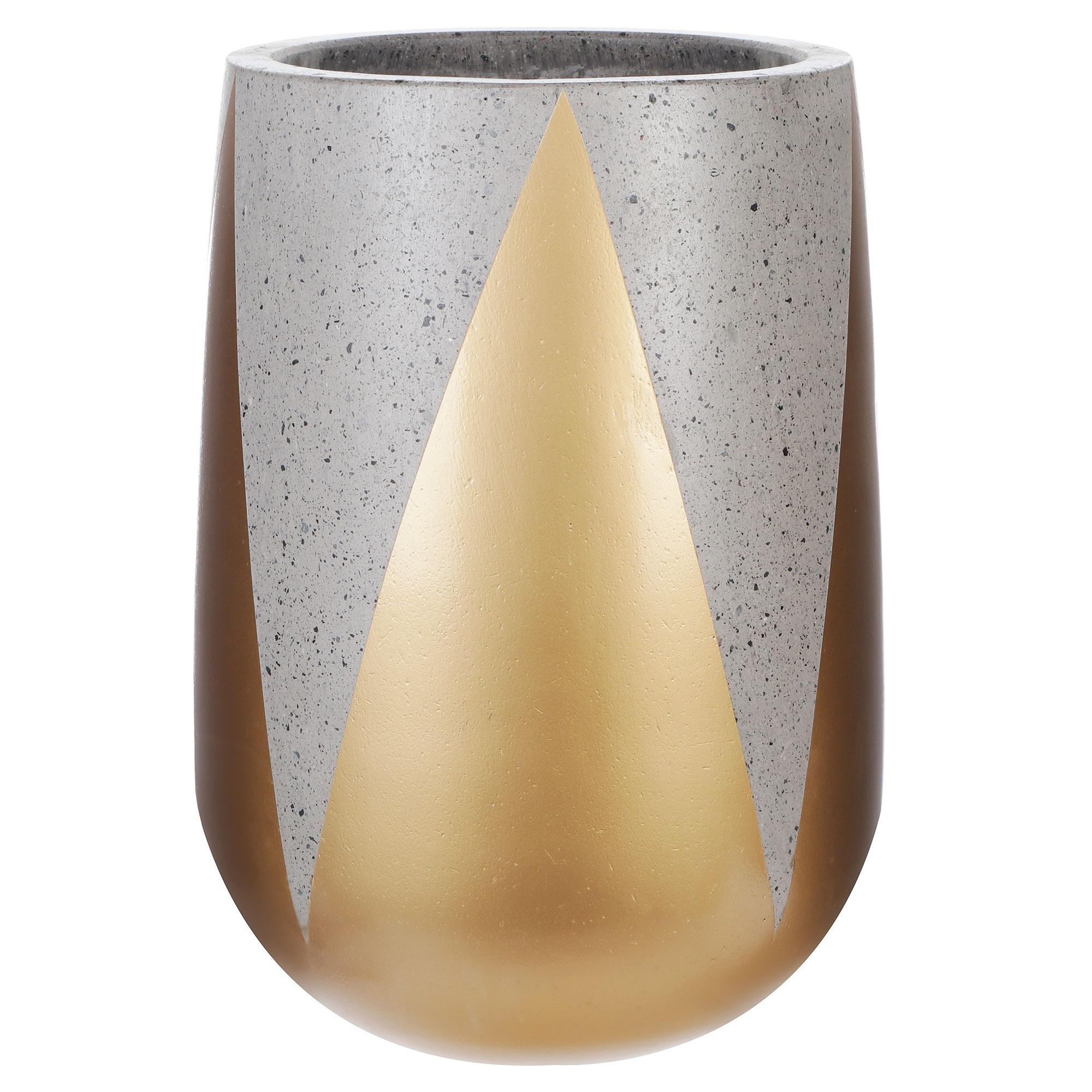 Кашпо Hoang pottery высокое 25x35 см бетон/золото