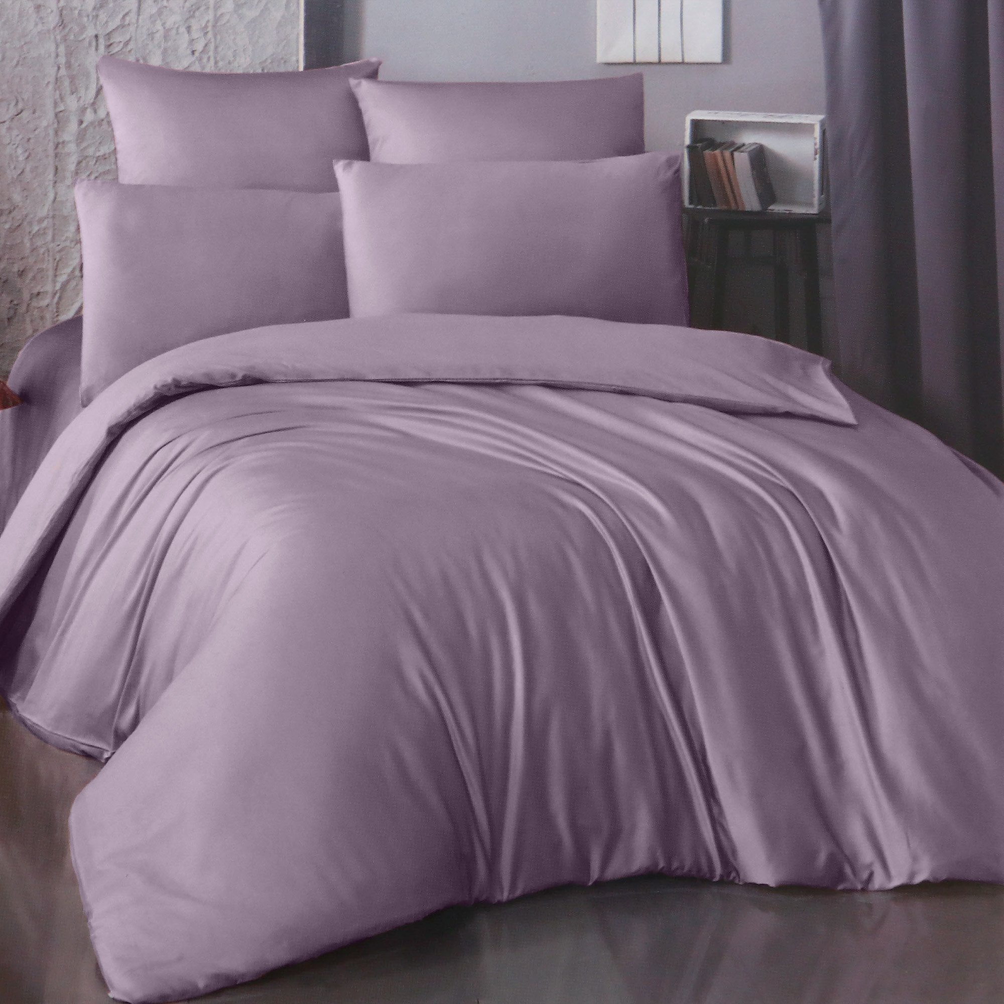 Фото - Комплект постельного белья La Besse Ранфорс сливовый Семейный комплект постельного белья la besse ранфорс тёмно серый евро