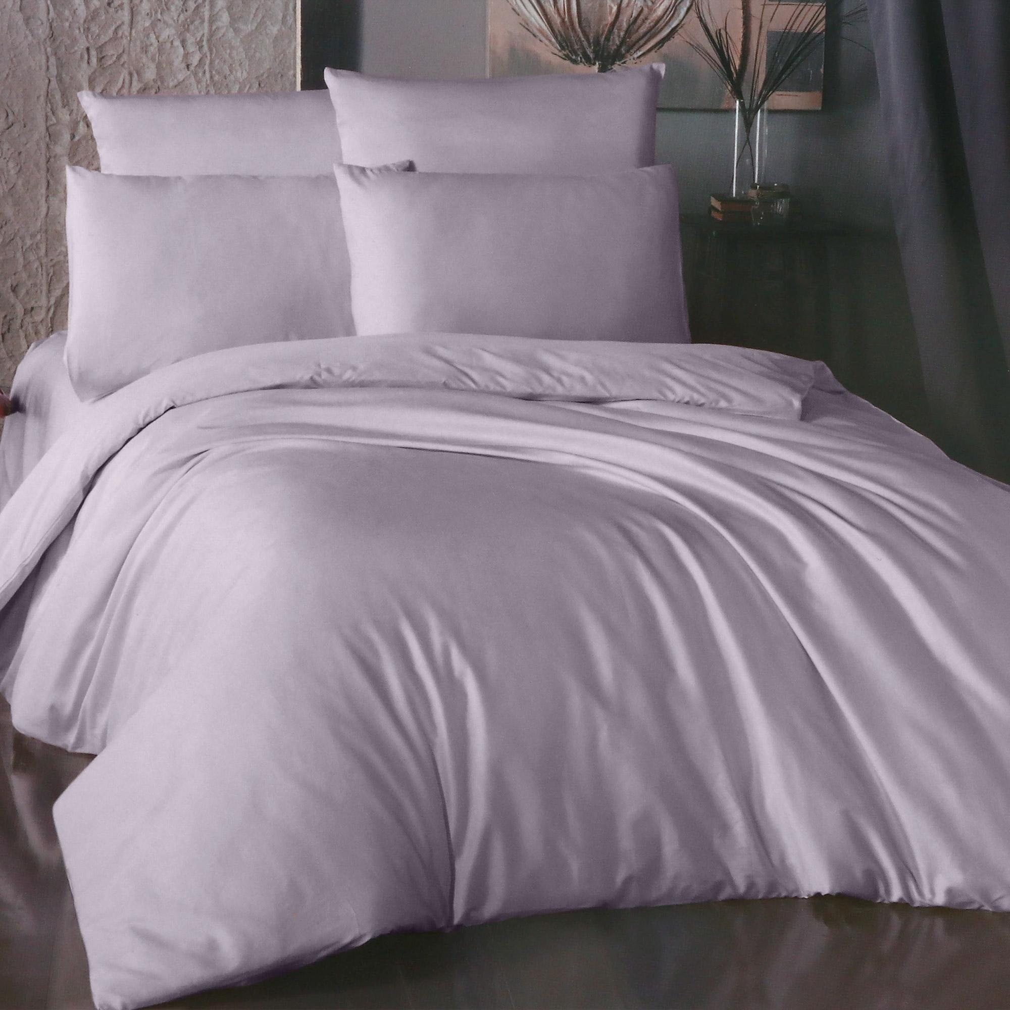 Фото - Комплект постельного белья La Besse Ранфорс лиловый Евро комплект постельного белья la besse ранфорс тёмно серый евро