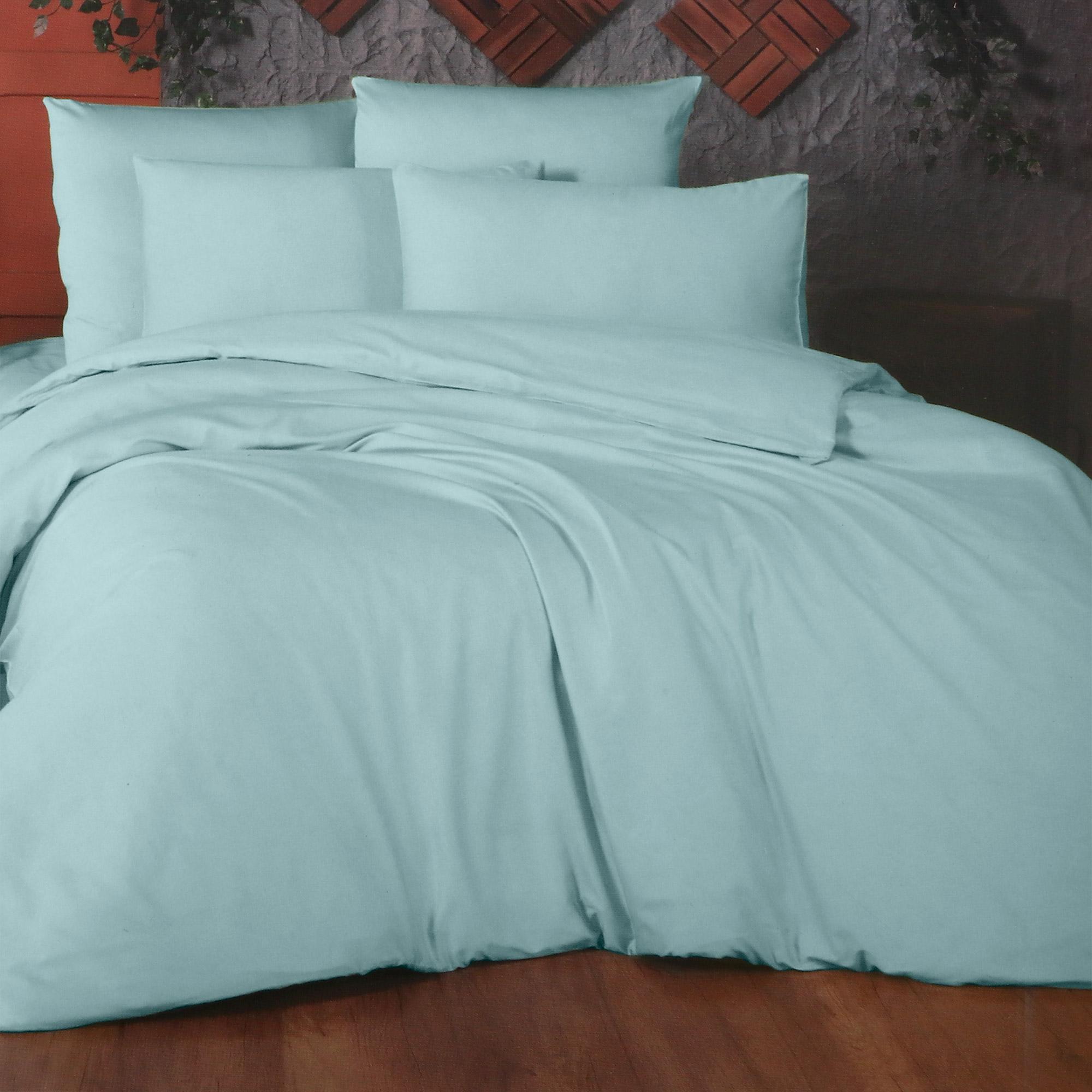 Фото - Комплект постельного белья La Besse Ранфорс голубой Евро комплект постельного белья la besse ранфорс тёмно серый евро