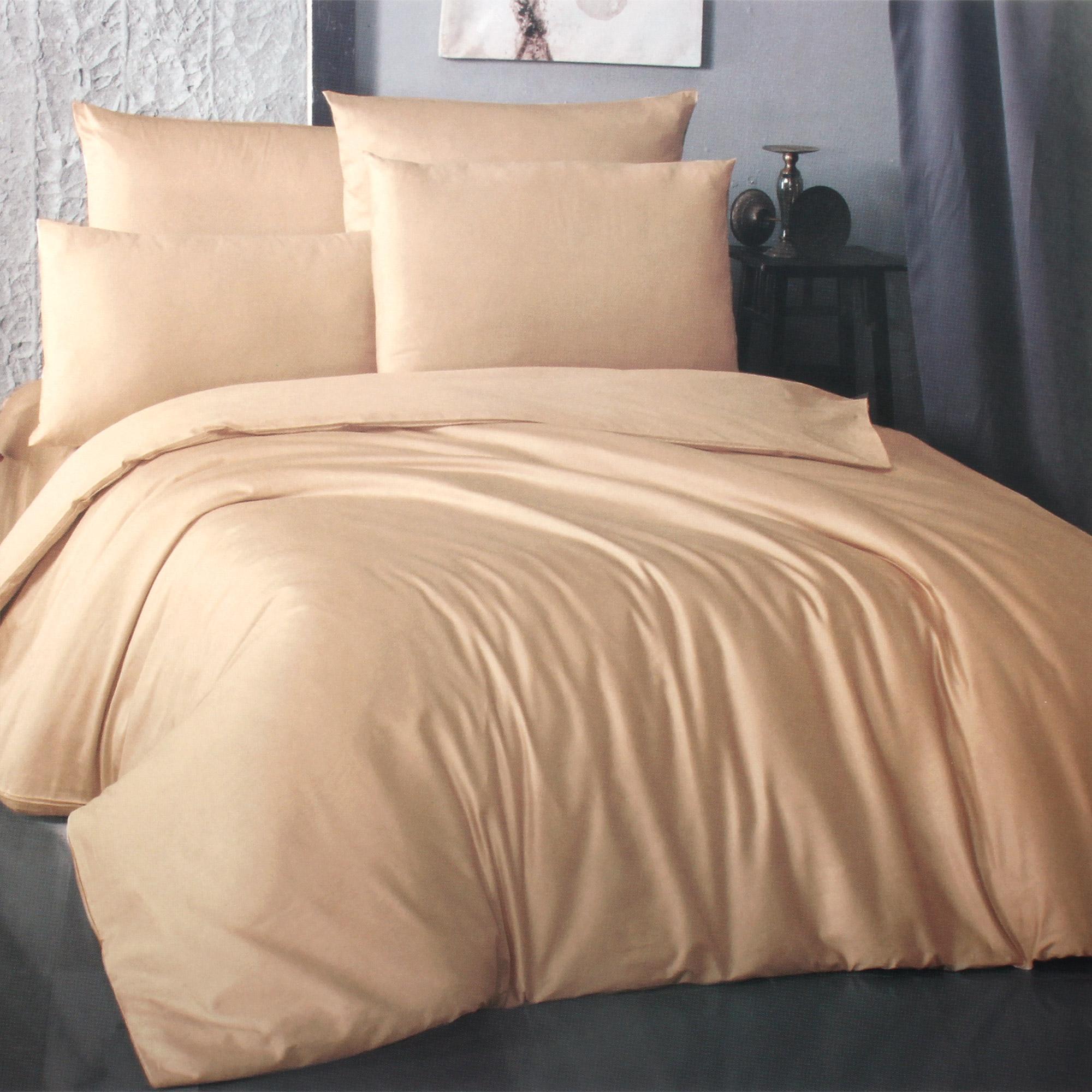 Фото - Комплект постельного белья La Besse Ранфорс бежевый Евро комплект постельного белья la besse ранфорс тёмно серый евро