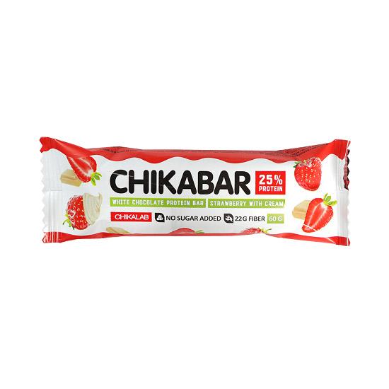 Батончик протеиновый ChikaLab Клубника со сливками 60 г