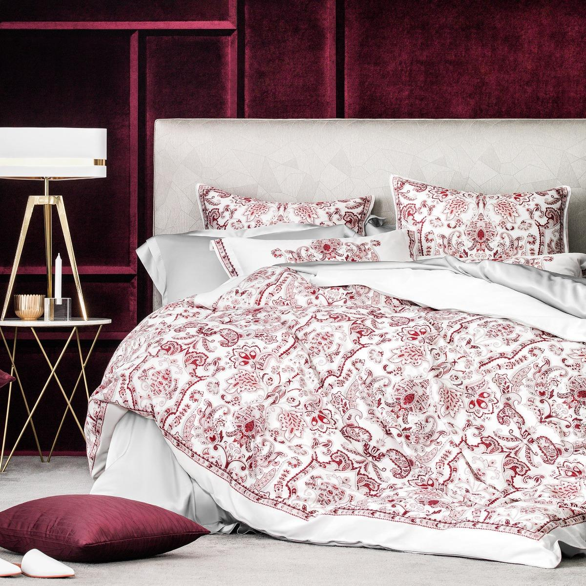 Комплект постельного белья Togas Розетта Двуспальный евро белый с розовым