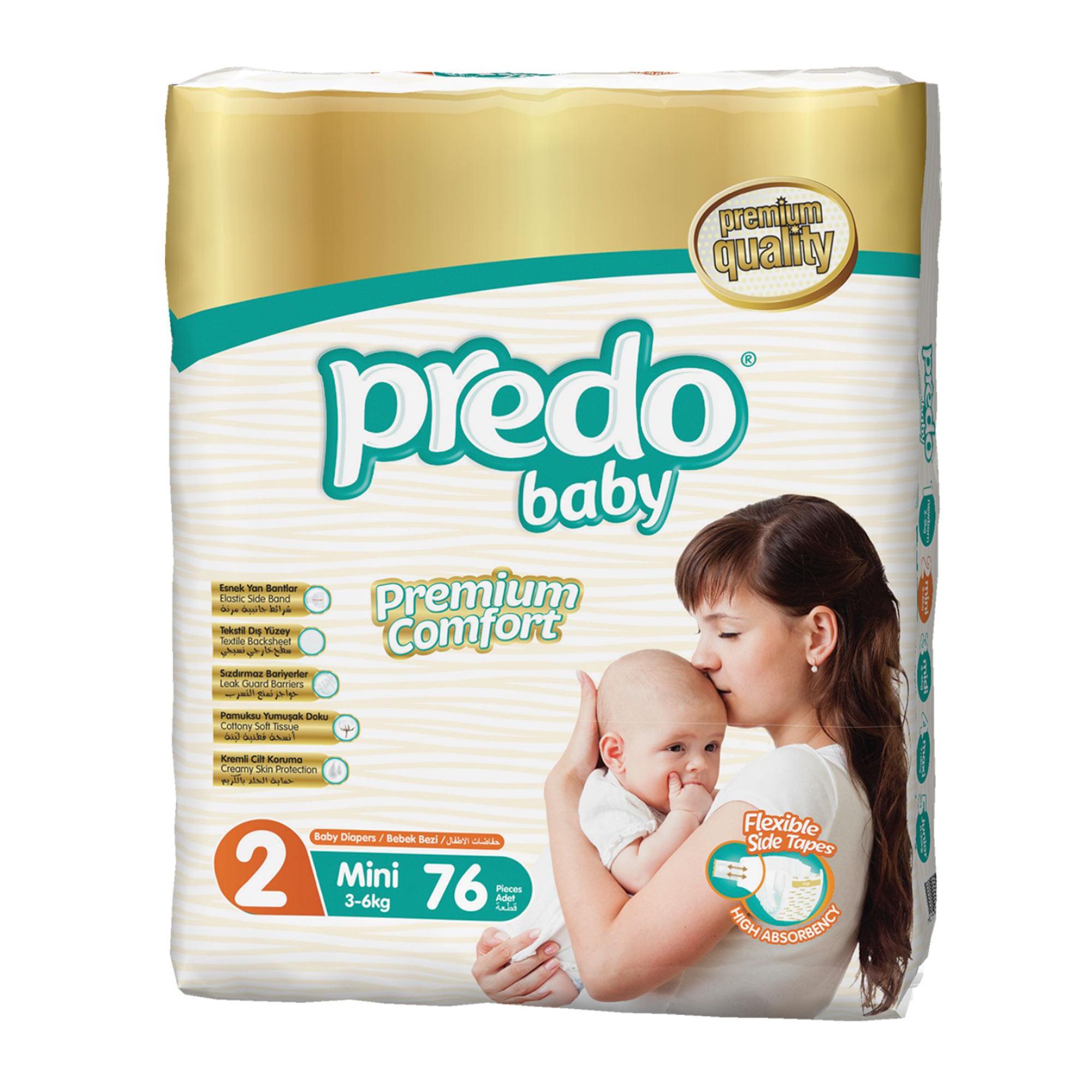Подгузники Predo Baby №2 3-6кг мини 76 шт
