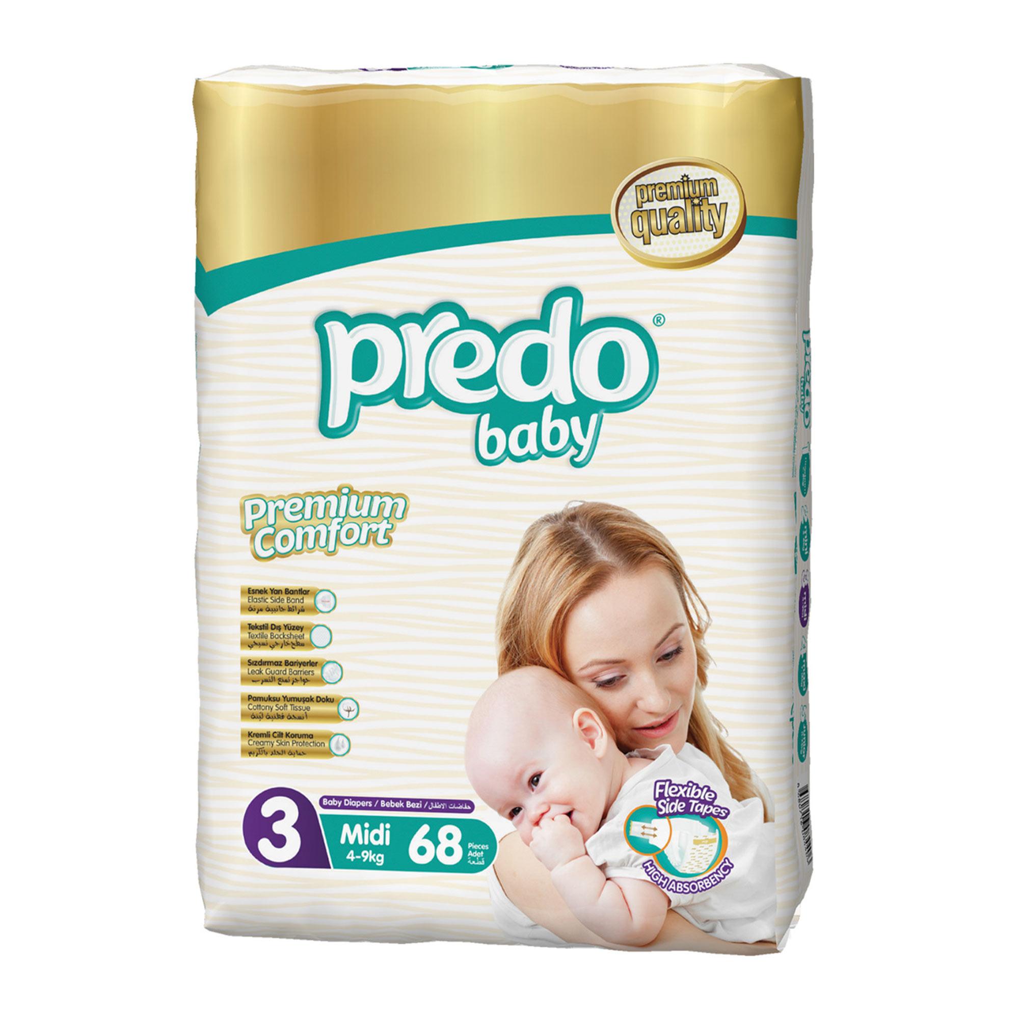 Подгузники Predo Baby №3 4-9кг средний 68 шт