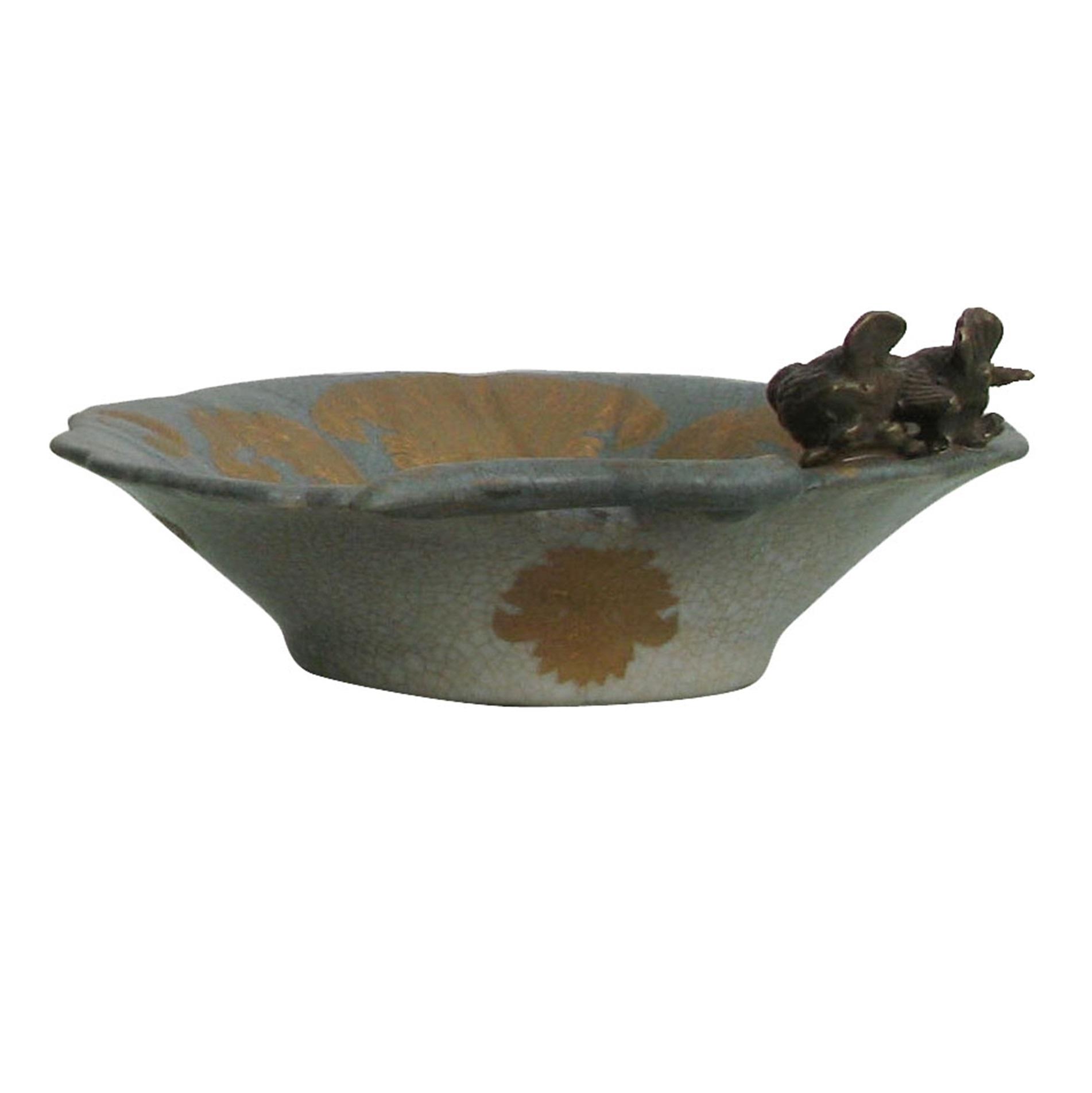 Фото - Блюдо с птичками Glasar 15x15x6см столик приставной glasar серебристого цвета с золотыми птичками на ветке 43x43x71 см