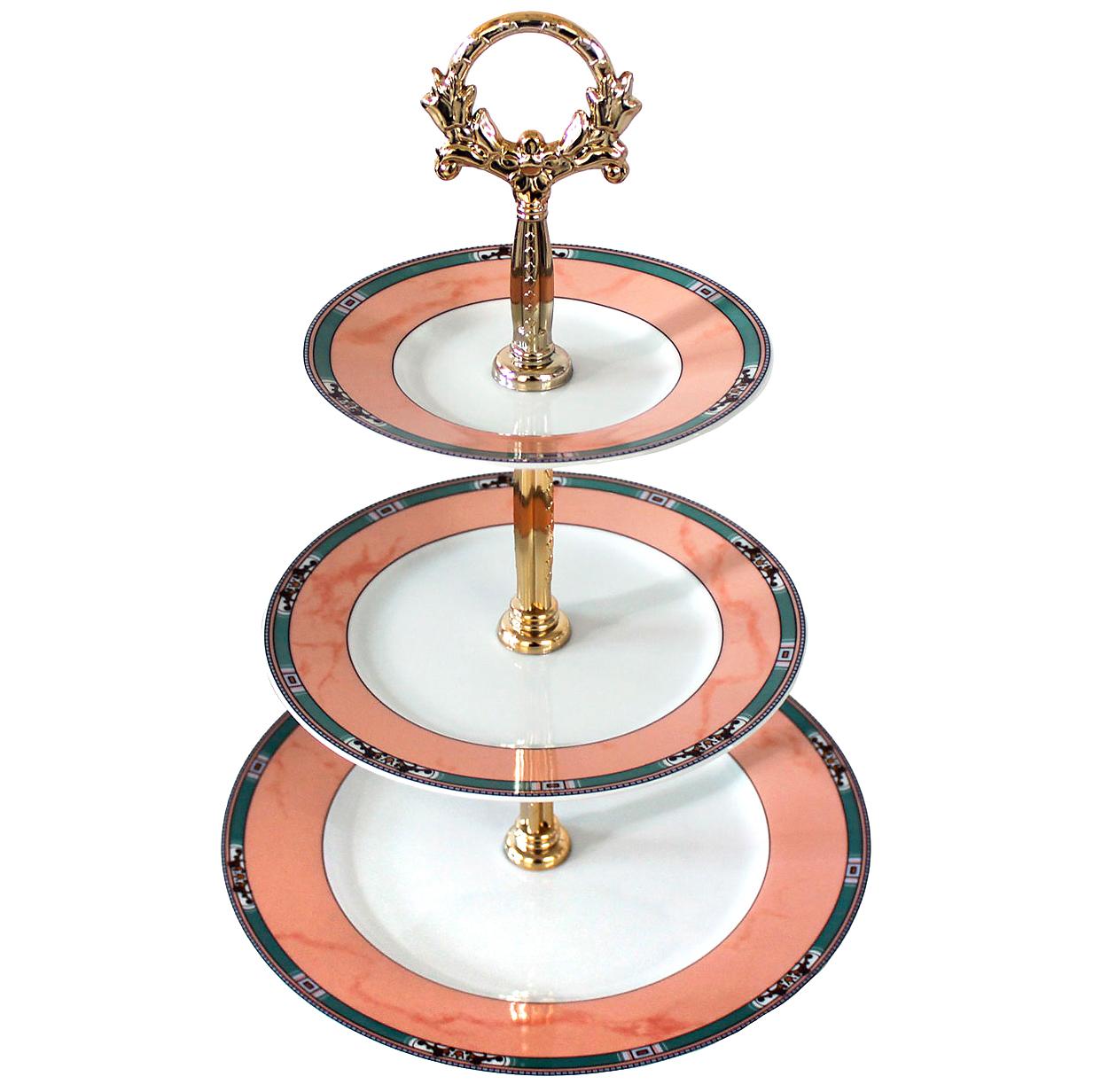 Этажерка 3-х ярусная Thun Cairo Розовый декор, мини кант