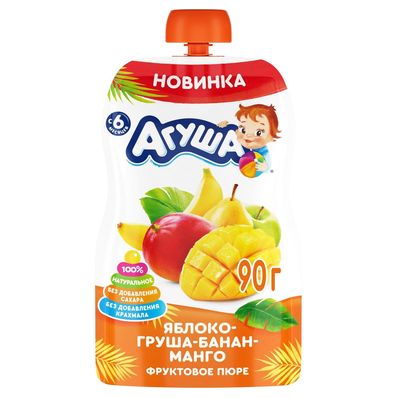 Фото - Пюре фруктовое Агуша Яблоко, груша, банан, манго 90 г пюре heinz яблоко груша кабачок 90 г