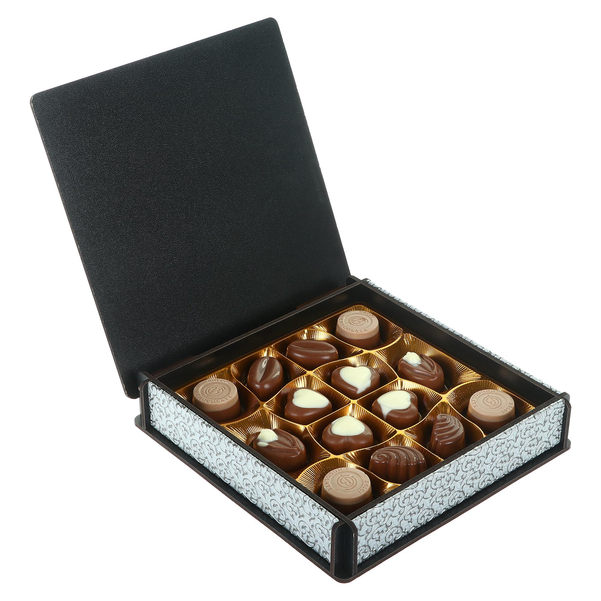 Набор шоколадных конфет Chief деревянная коробка серебряная, 175 г mieszko трюфель французский со вкусом ореха набор шоколадных конфет 175 г