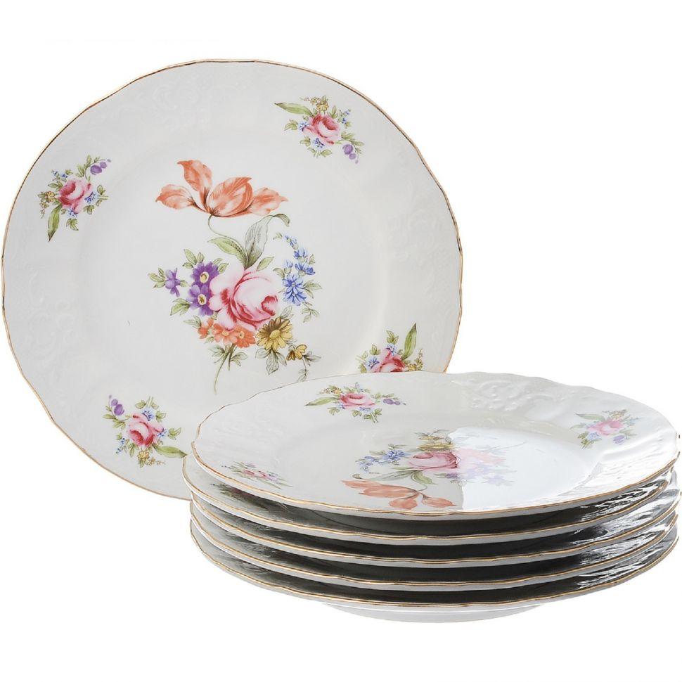 Набор десертных тарелок Bernadotte Мейсенский букет 17 см 6 шт недорого