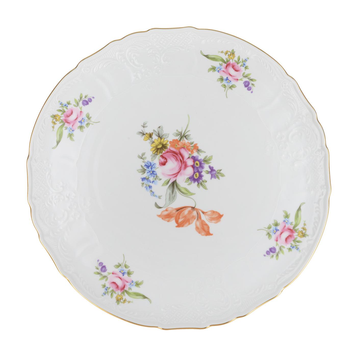 Набор мелких тарелок Bernadotte Мейсенский букет 27 см 6 шт недорого