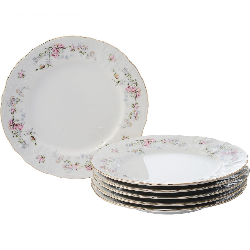 Набор десертных тарелок Bernadotte Дикая роза 19 см 6 шт недорого