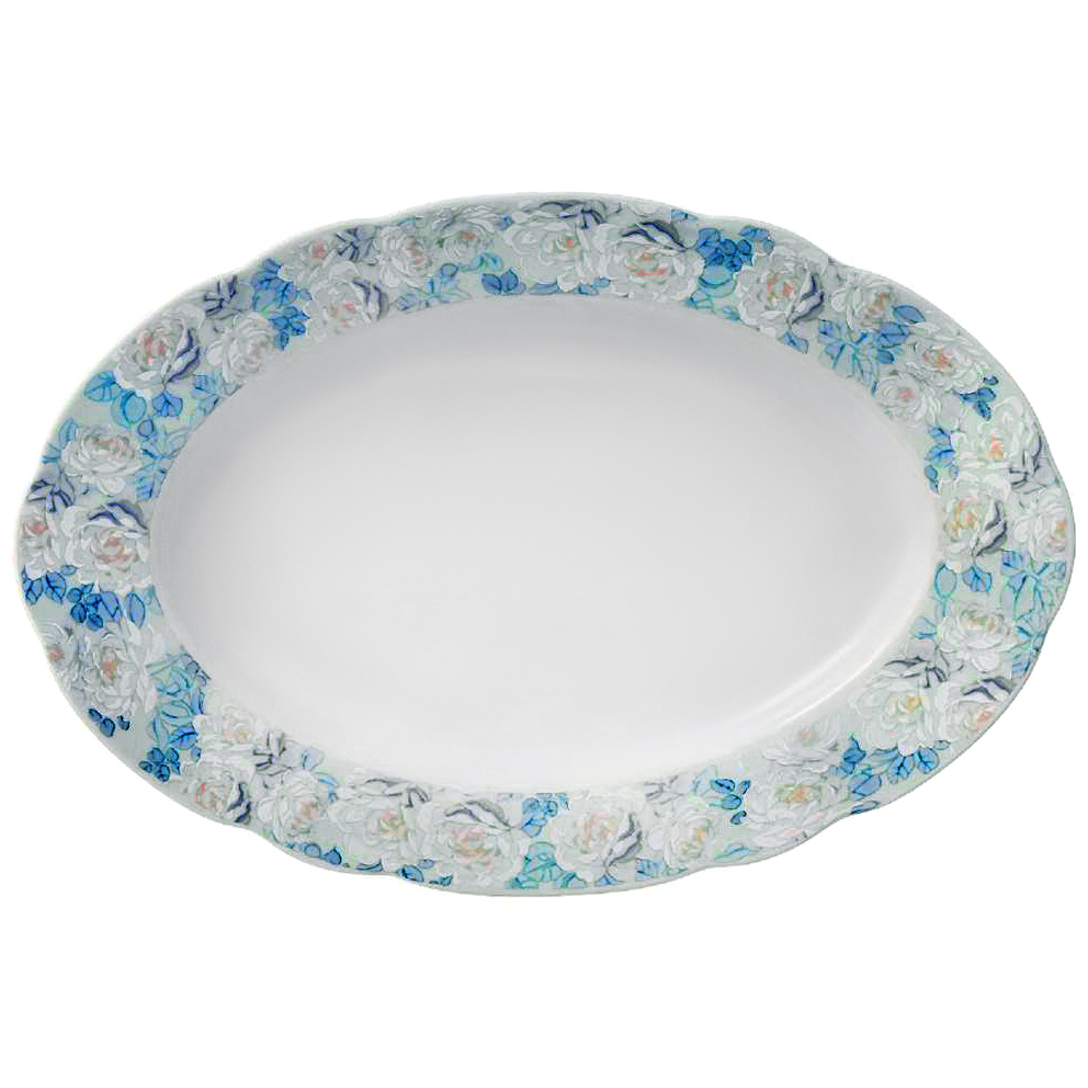 Фото - Блюдо овальное Thun Голубая роза 36 см салатник круглый thun голубая роза 16 см