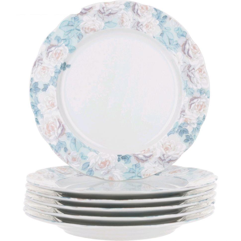 Фото - Набор мелких тарелок Thun Голубая роза 17 см 6 шт салатник круглый thun голубая роза 16 см