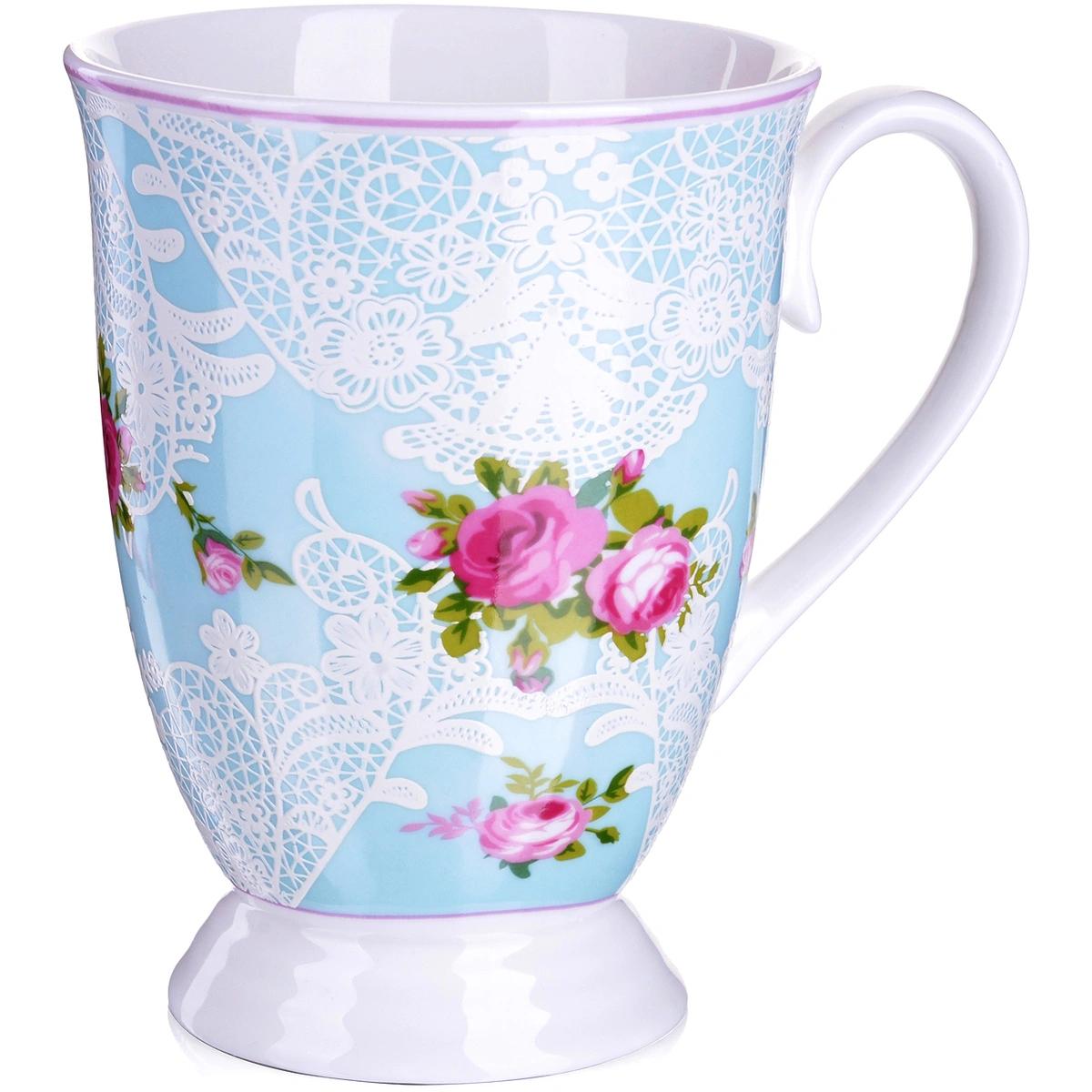 Кружка Loraine Цветы голубая 330 мл