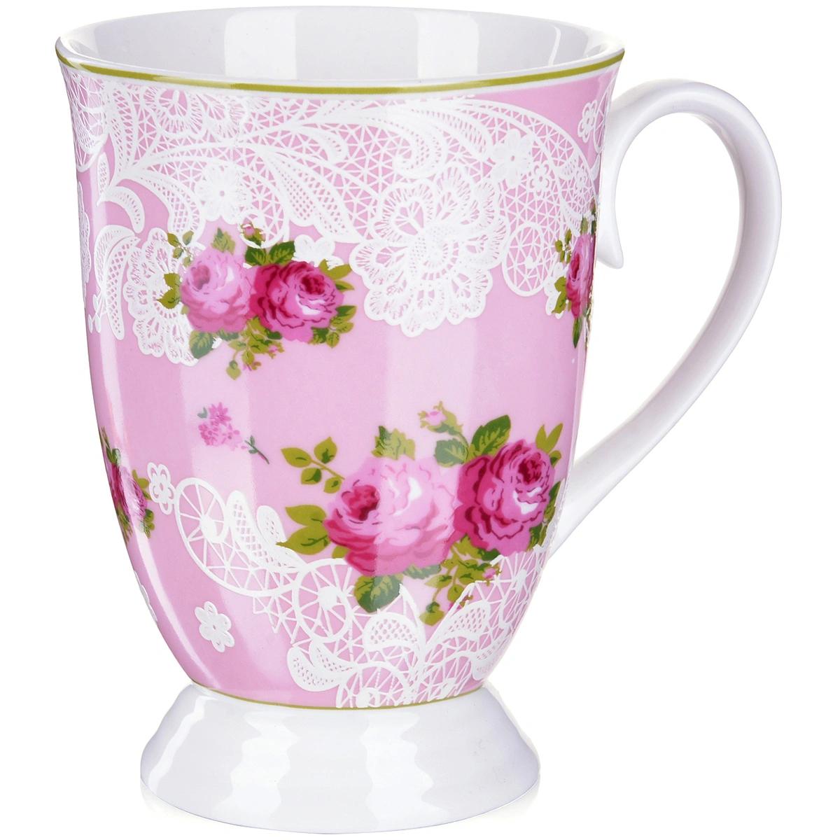 Кружка Loraine Цветы розовая 330 мл loraine 1 5 л 29699