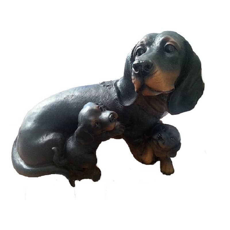 Садовая фигура Собака такса с щенками Тпк полиформ высота 27см, длина 33см