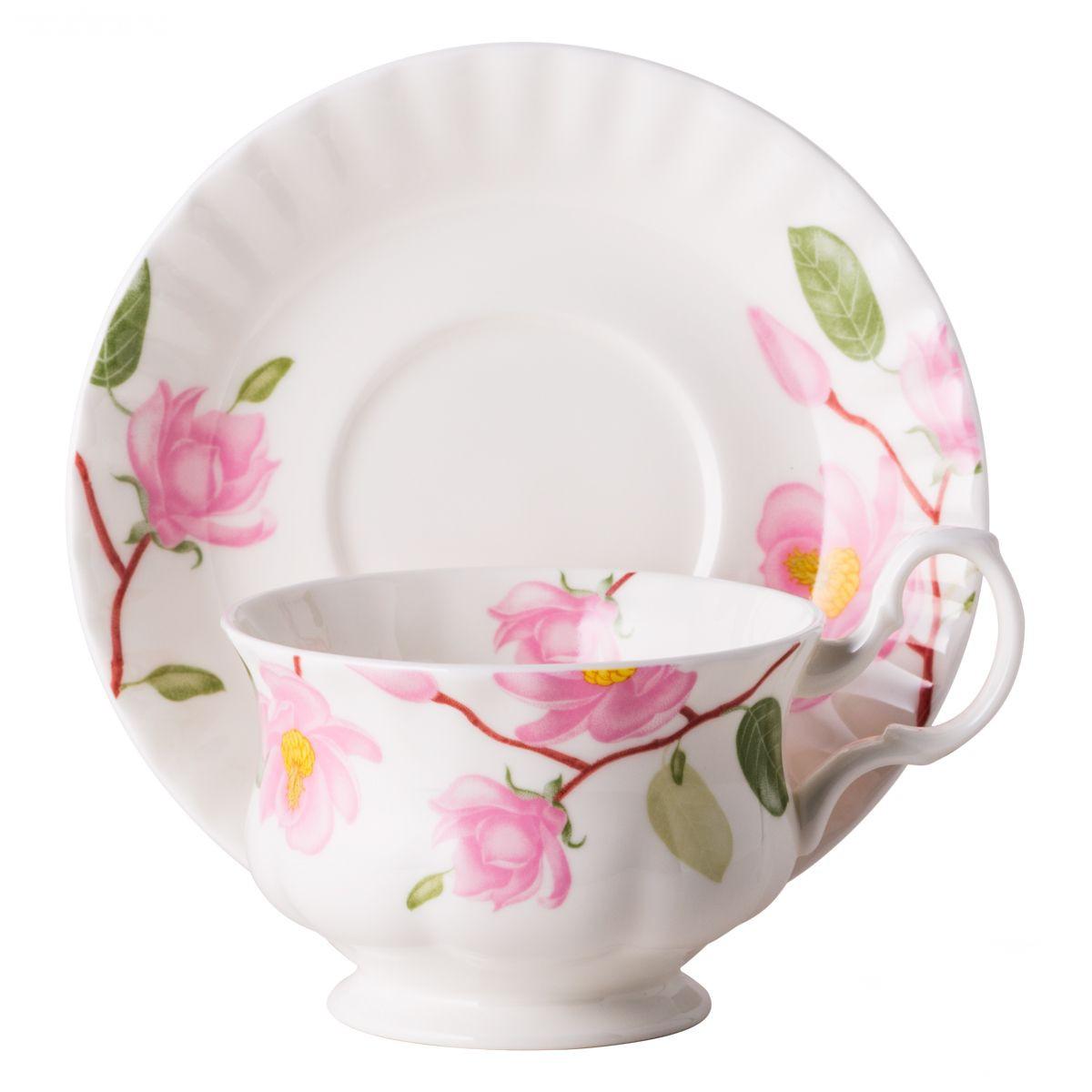 Фото - Чайная пара для завтрака Top Art Studio Цветущая магнолия 400 мл чайная пара top art studio королева эстева роз 300 мл